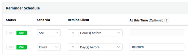 Set up to 2 visit reminders (including SMS) to be sent at a time set by you