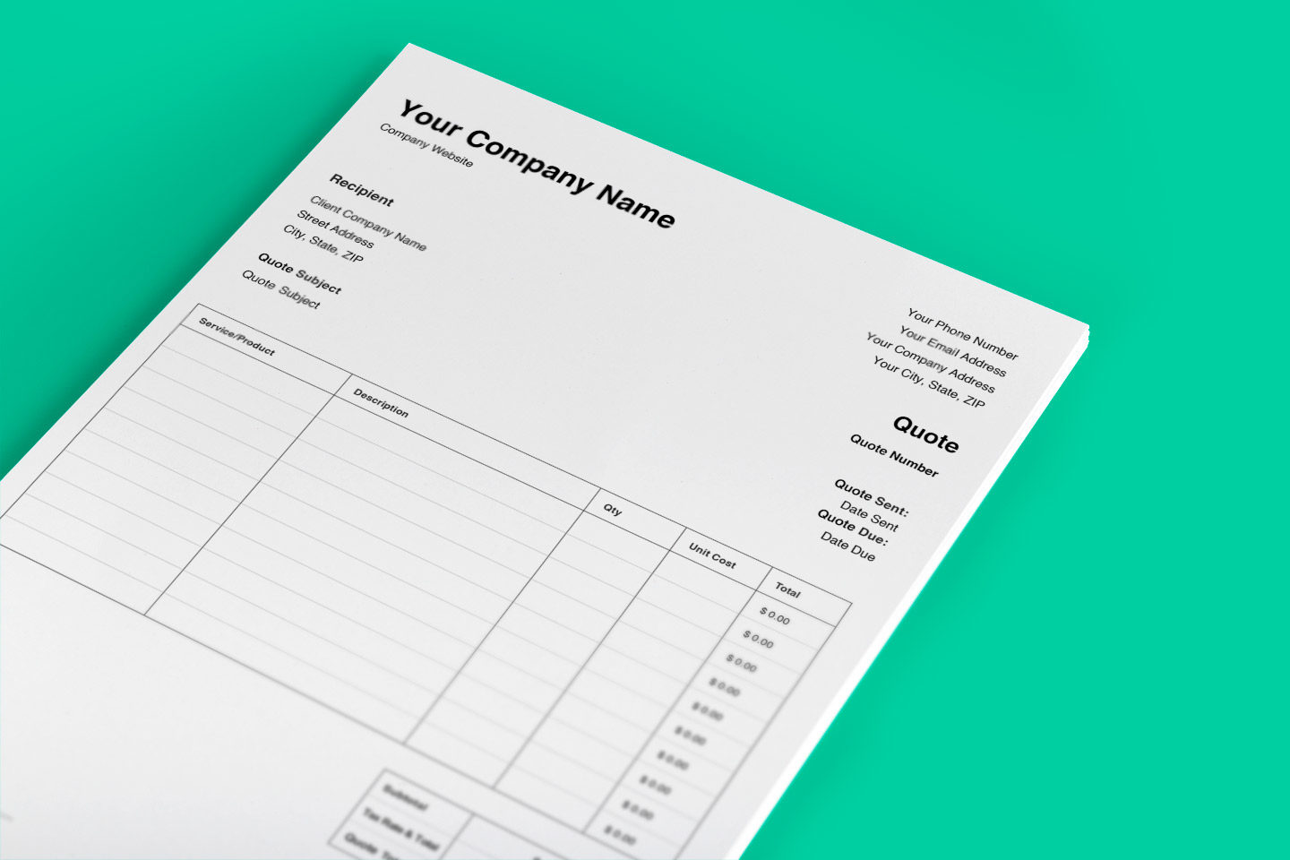 Free quote template. This cost estimate tool can be customized to your business's company name and other details.