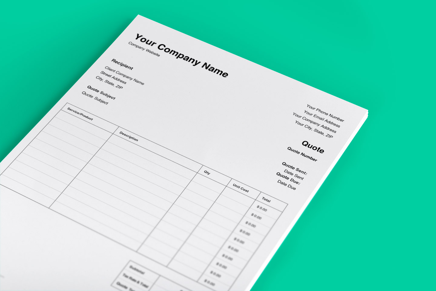 Free quote template. This cost estimate tool can be customized to your business