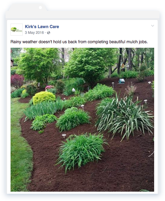 Kirks Lawn Care Facebook Post