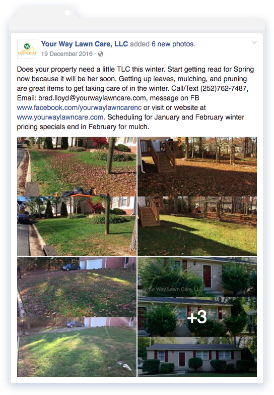 Your Way Lawn Care example Facebook post