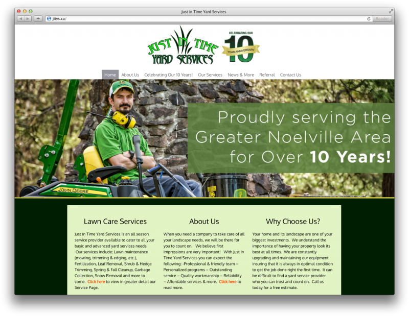 Just In Time Lawn Services Website