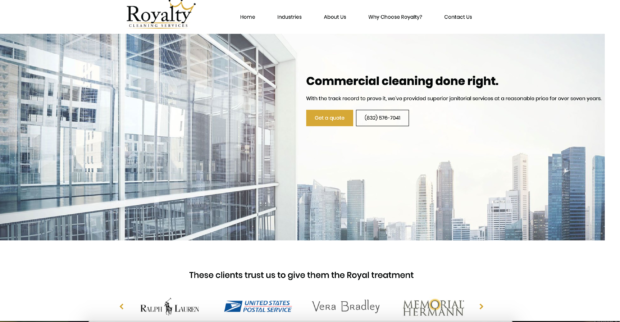 image of quote from cleaning business website