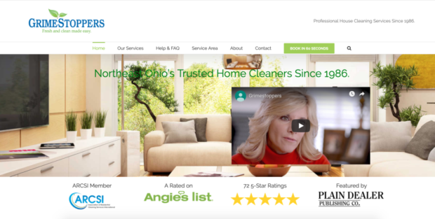 image of cleaning website