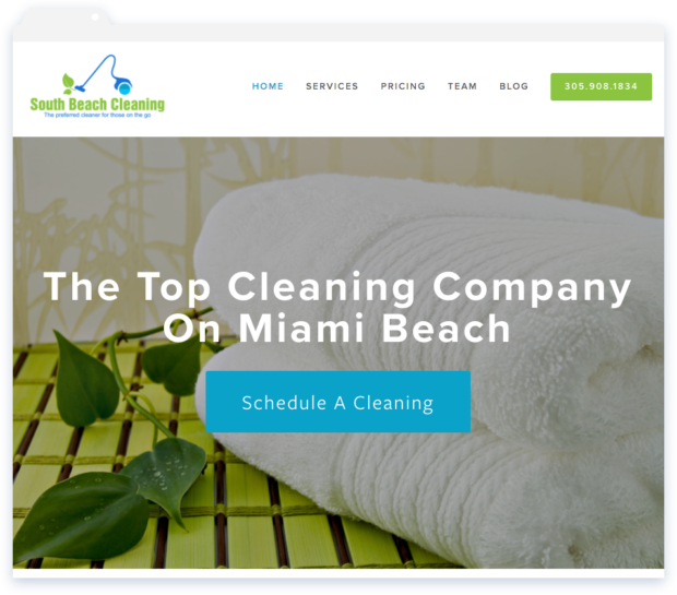 South Beach Cleaning Website on Mobile