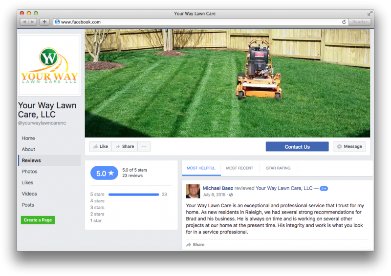 Your Way Lawn Care Facebook Reviews