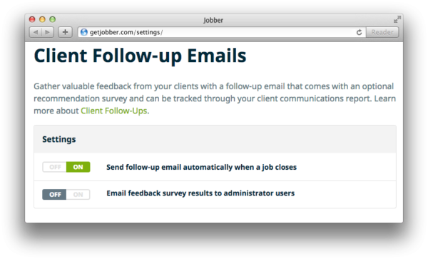 Client Follow Up Email Settings