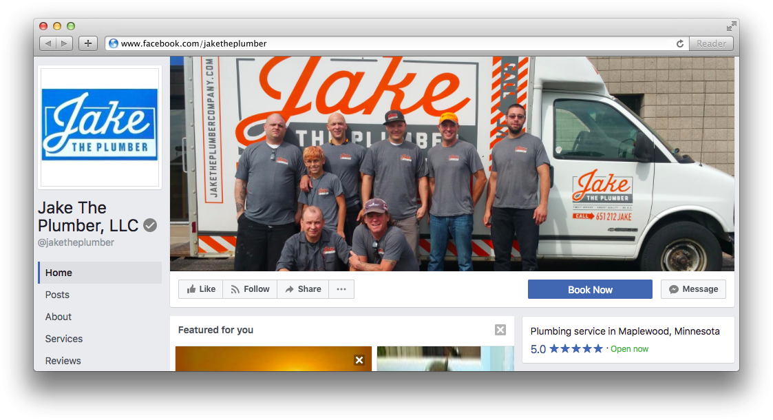 Jake the Plumber Facebook Page