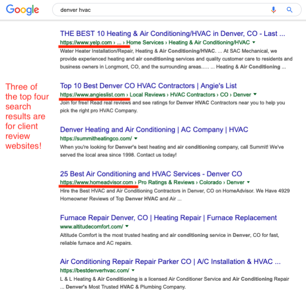 Image of HVAC website search results