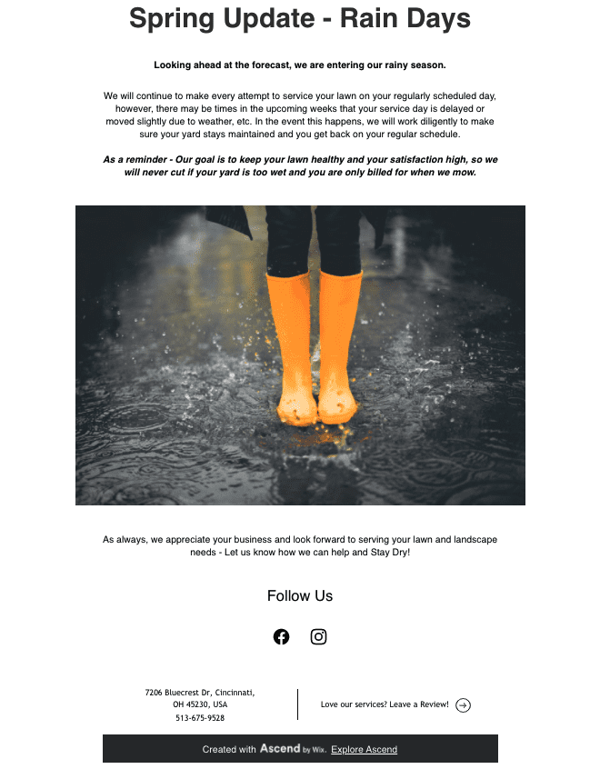 Email template with rainy day policy