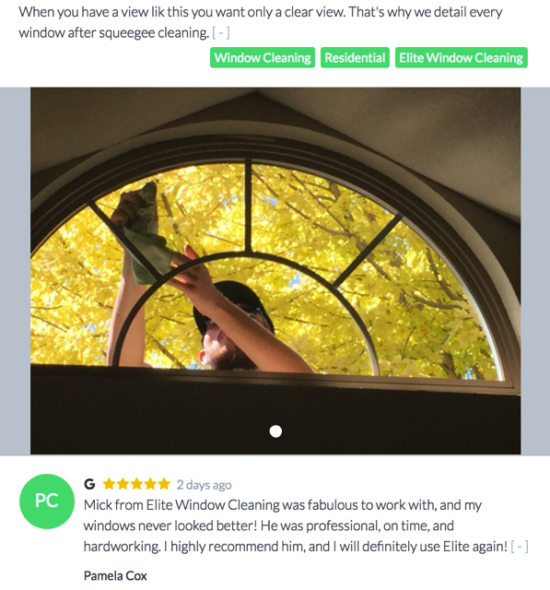 Share photos along with reviews and stories