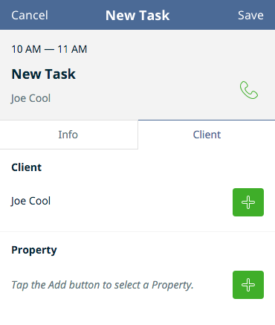 Creating a new task in the Jobber app
