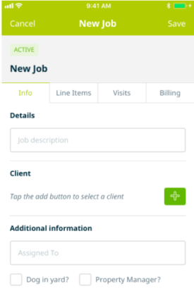 Creating a new job in the Jobber app