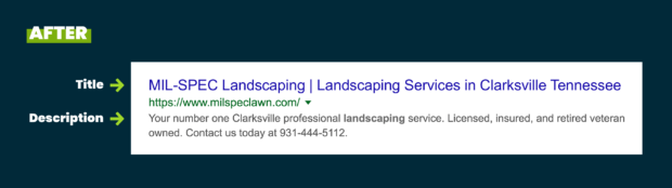 Optimized meta title and description for a contracting business