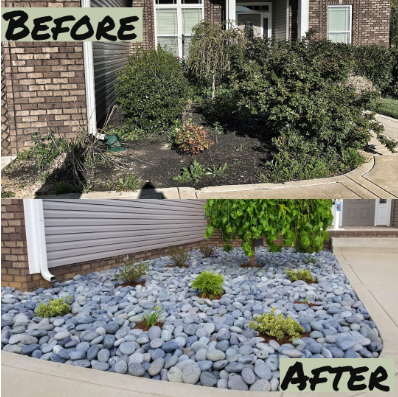 Before and after photos of a rock garden after landscaping services