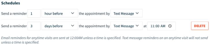 Example of appointment reminder schedule in Jobber