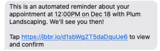 Example of appointment reminder text message in Jobber
