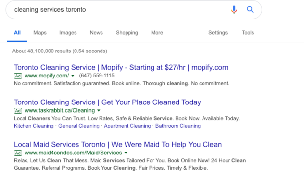 image of cleaning services PPC ads