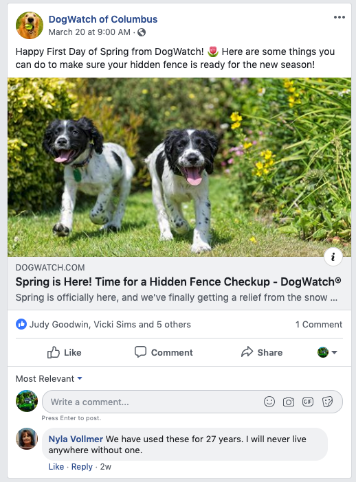 Example of a Facebook Post