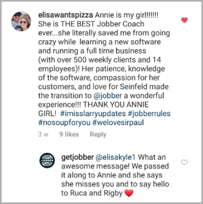 Jobber Small Business Month Instagram Comment