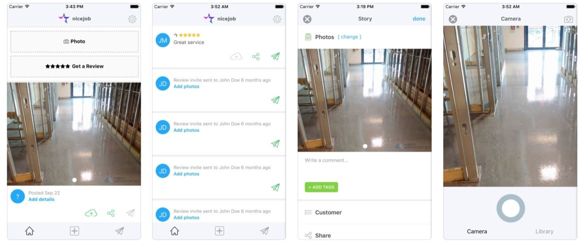 A mobile preview of the NiceJob app for lawn care businesses