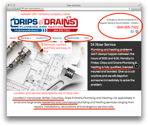 image of HVAC website example