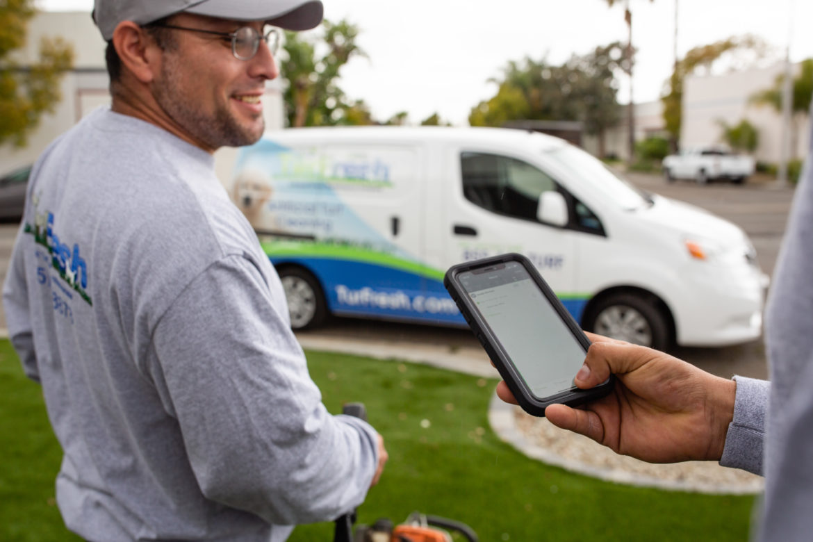 image of astro turf providers using field service management software