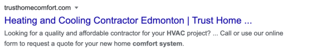 HVAC SEO: bolded keywords in meta description