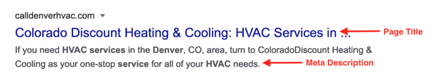 HVAC website SEO tips: page title and meta description