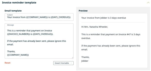 Overdue Invoice email template