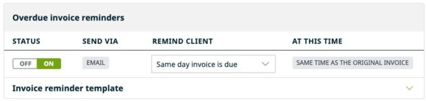 Overdue invoice reminders settings