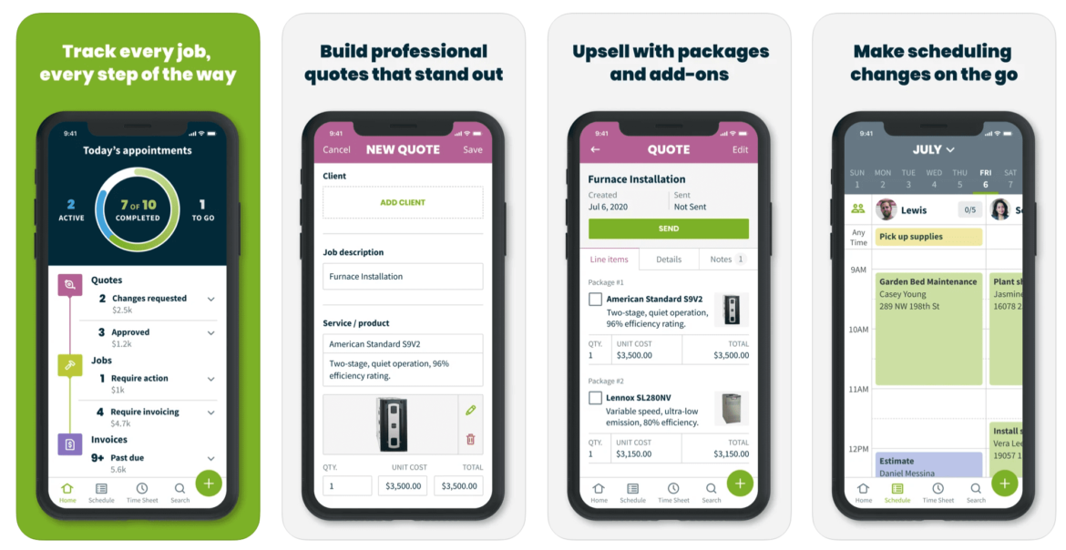 A mobile preview of the Jobber lawn care app