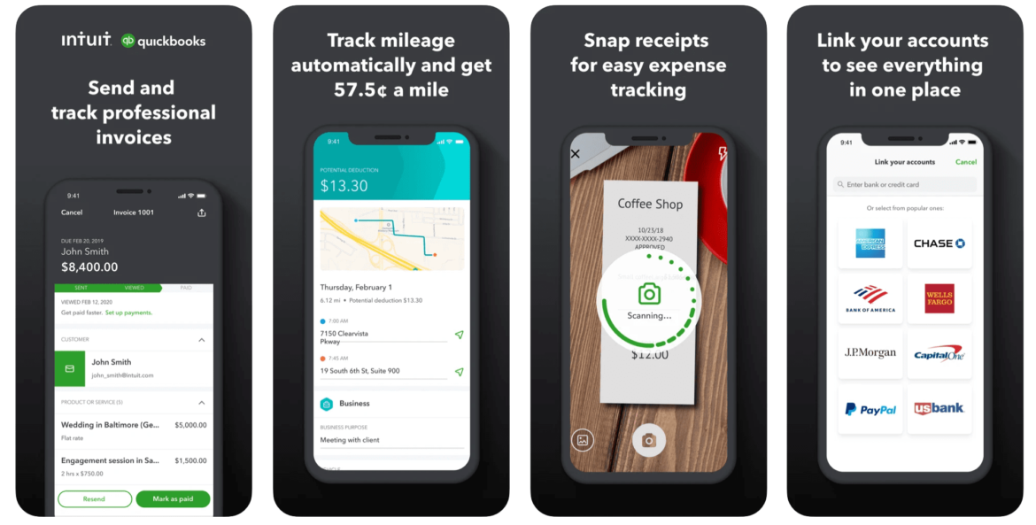 A mobile preview of the QuickBooks Online app for lawn care businesses