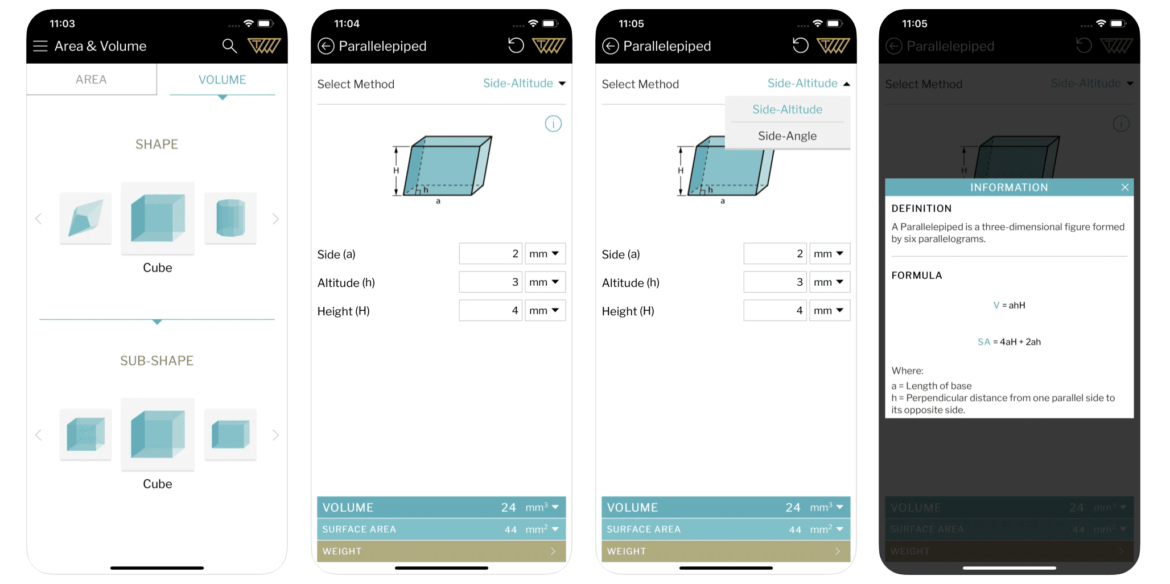 A mobile preview of the Area Volume Calculator lawn care app