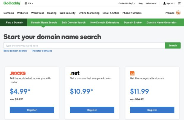 Creating your Service Company Website - GoDaddy Domain Name Search