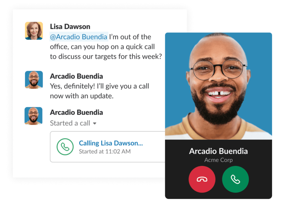 A mobile preview Slack's app for lawn care business video conferencing
