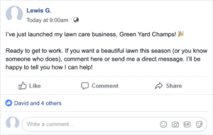 Example of how to get lawn care customers with a Facebook post