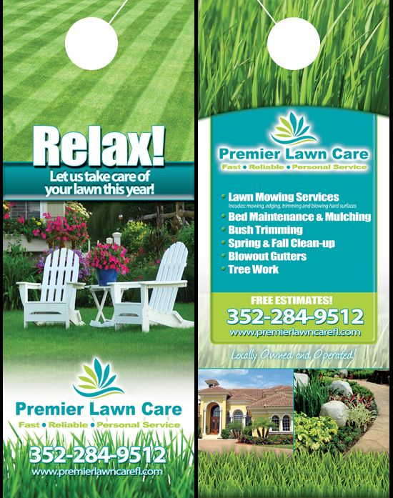 Lawn care service door hanger from Premier Lawn Care