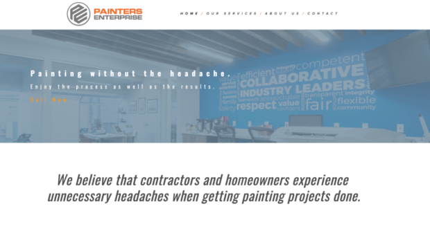 image of painting business website