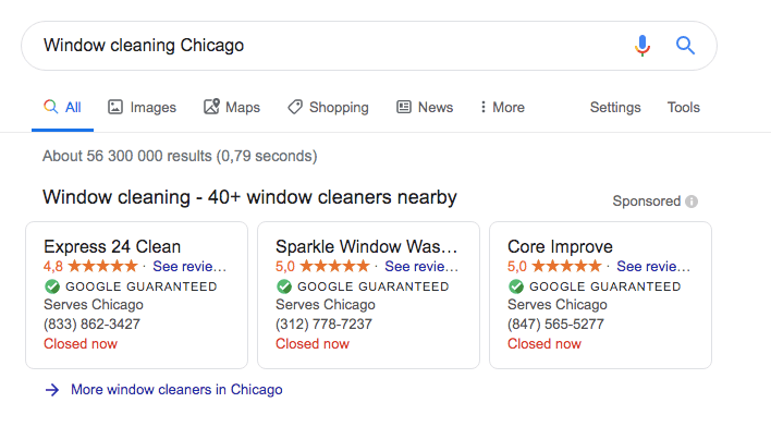Google Local Services Ads results for Window Cleaning Chicago
