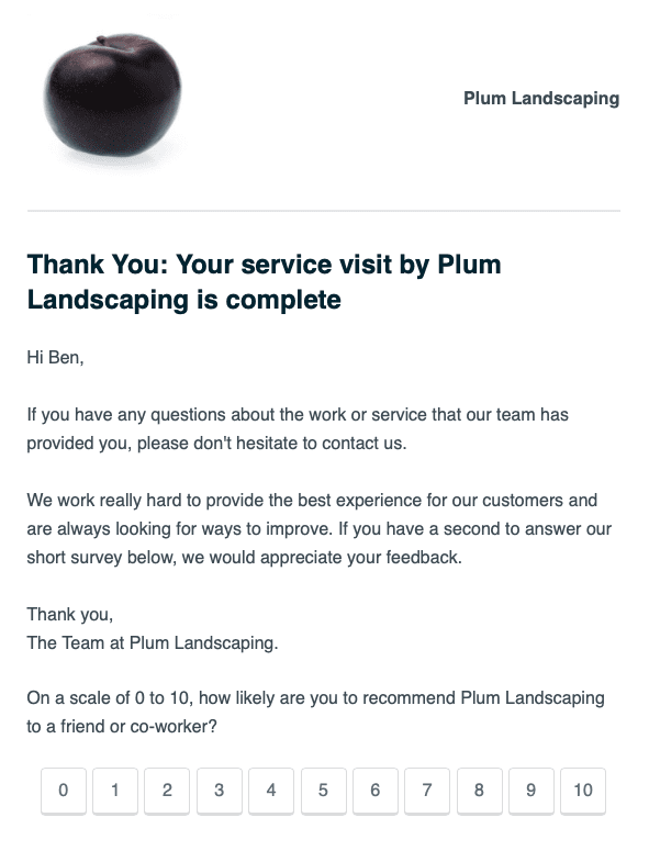 Appointment follow-up auto-reply message