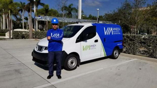 HVAC contractor and truck in Miami, Florida from VMech Mechanical