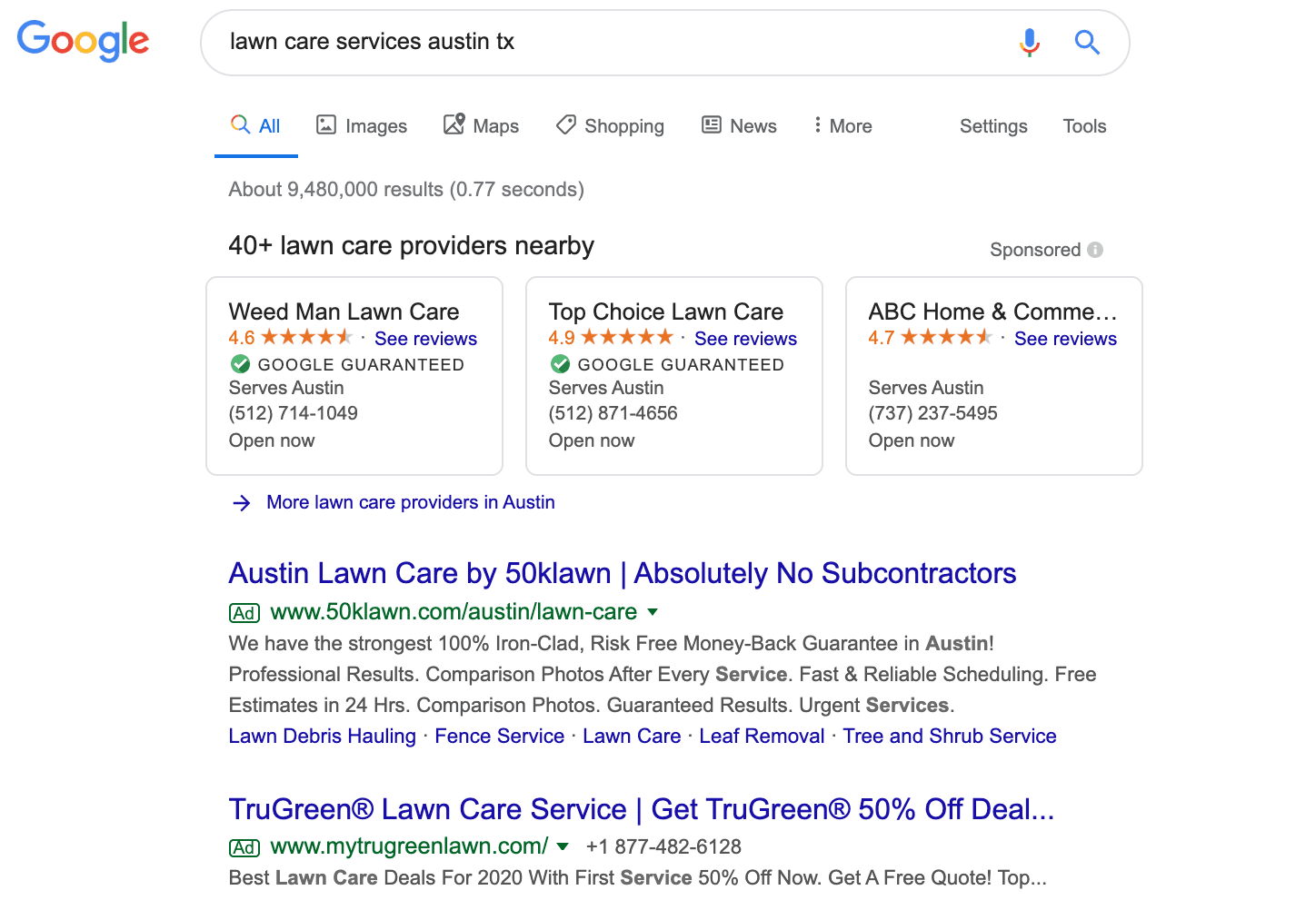 example of pay per click ad on google for lawnc are advertising