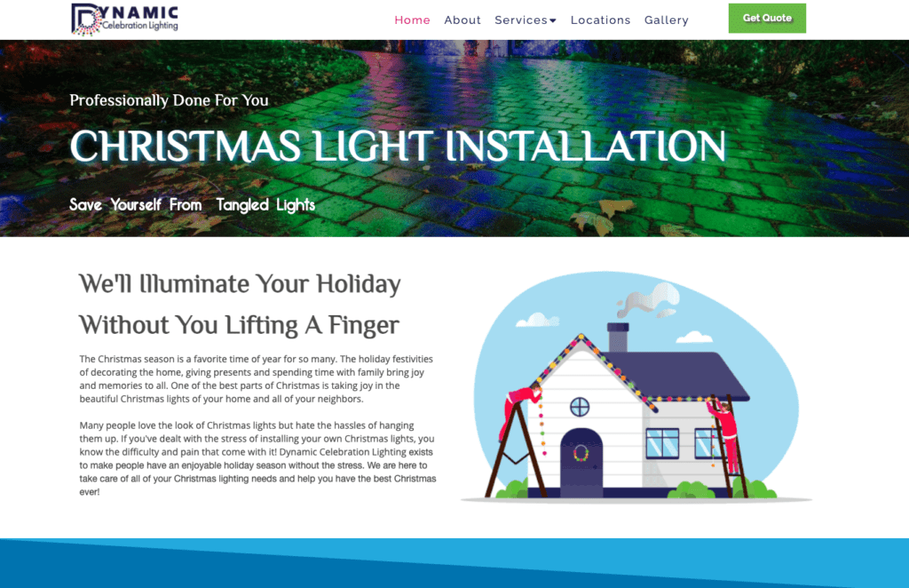 What do landscapers do in the winter Christmas lights installation