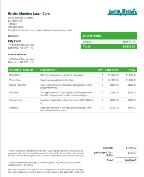image of a a lawn care invoice