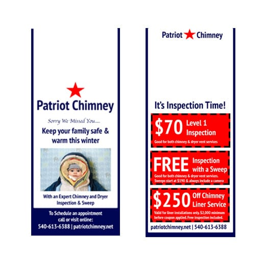 starting a chimney service business: use door hangers to attract new clients