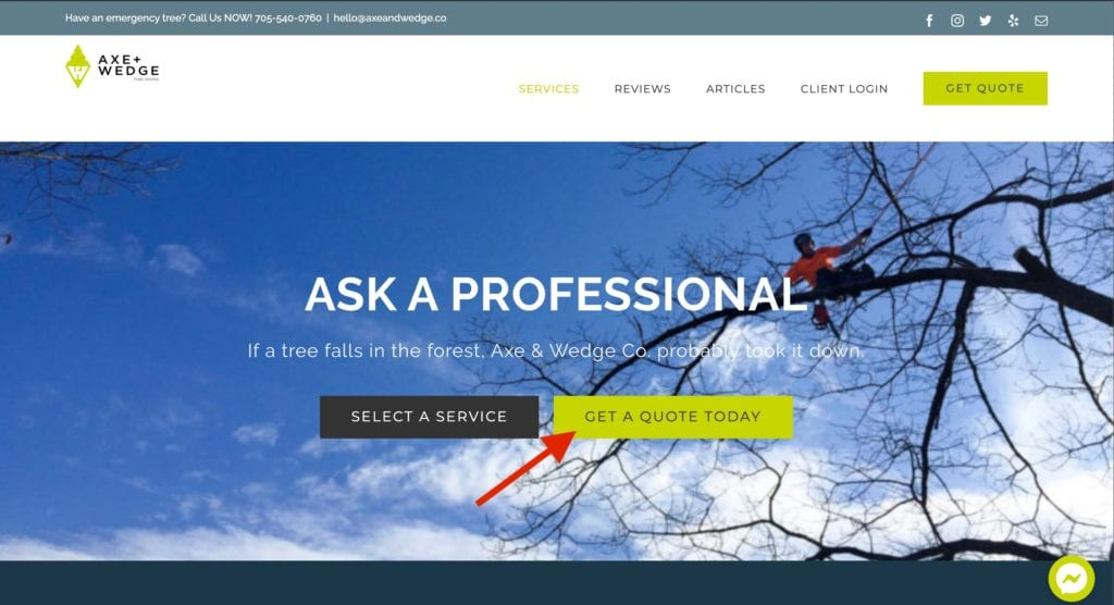 Best arborist websites #4a add a booking form