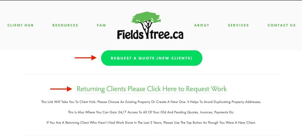 best arborist website example - add a client hub