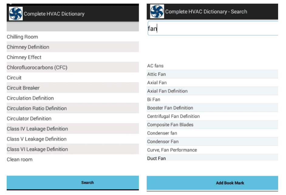HVAC app for HVAC technicians: Dictionary