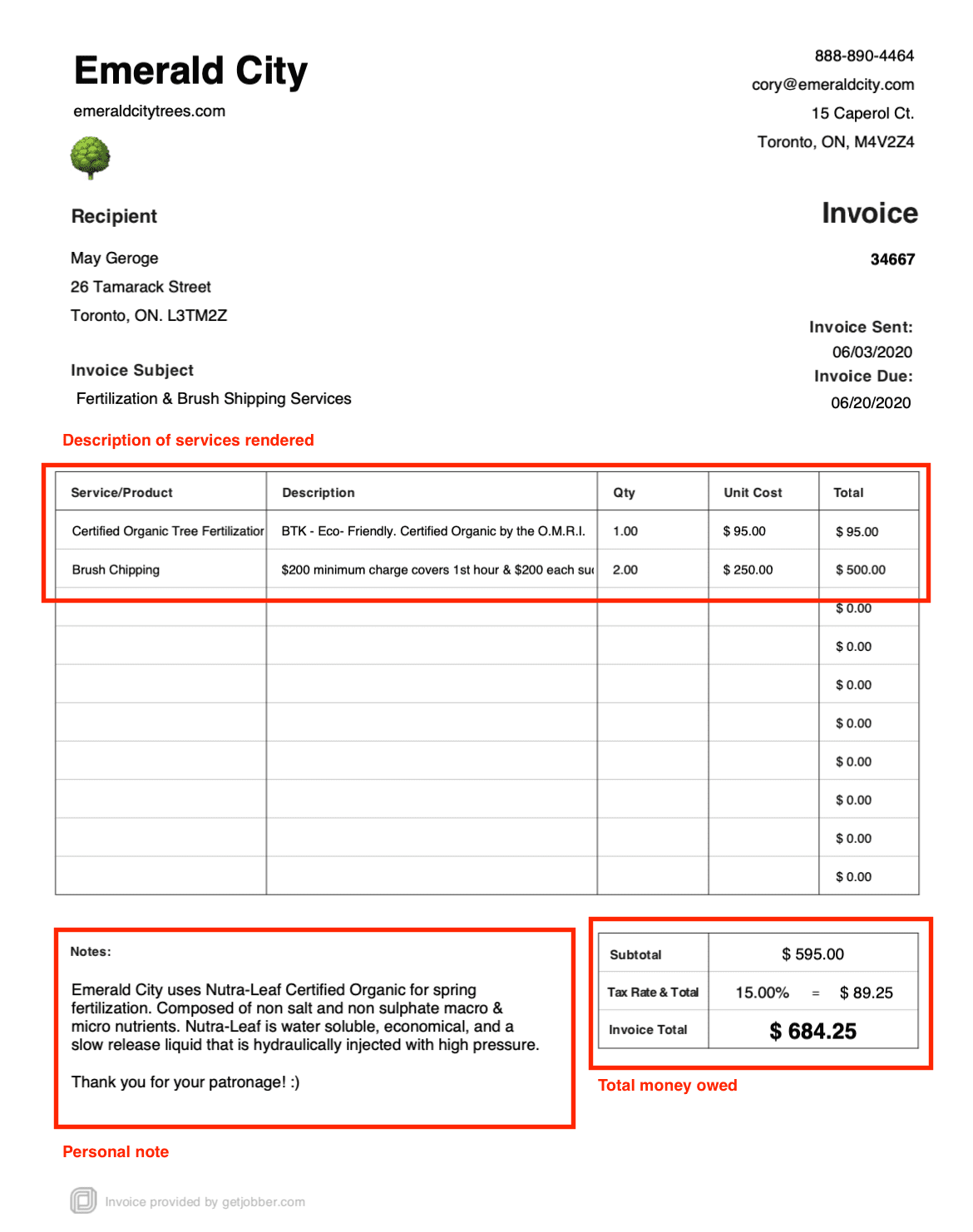 image of tree service invoice example